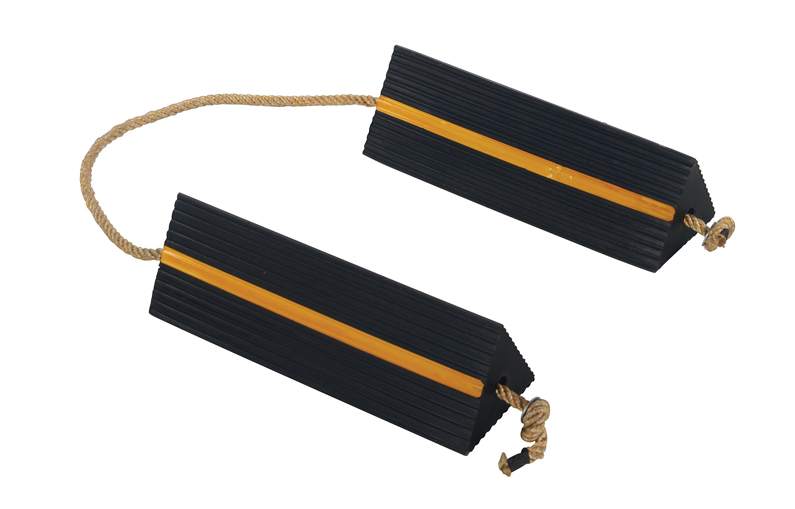 Vestil AC-18 Wheel Chock with Rope, 18'' Width x 5-1/2'' Height x 6'' Depth