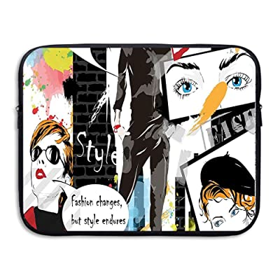 XINSHOU Cool Print Of Magazine Papers With Glamour Fashion Ladies And Icons Artwork Laptop Sleeve Case Bag Cover For 13-15 Inch Notebook Computer