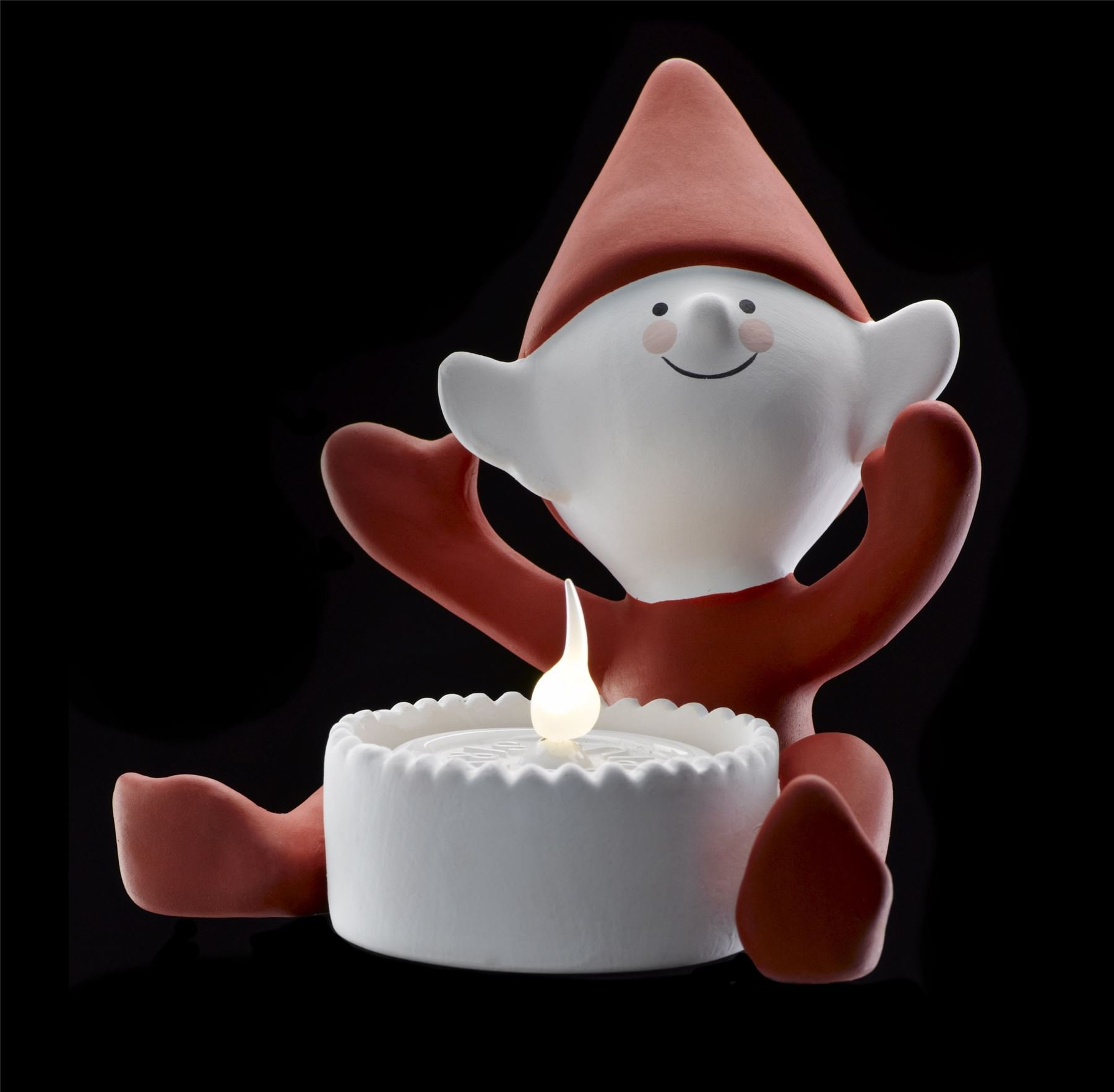 Sirius Elfs of the Merry Woods LED Candle Holders & Candle - Happy Elf