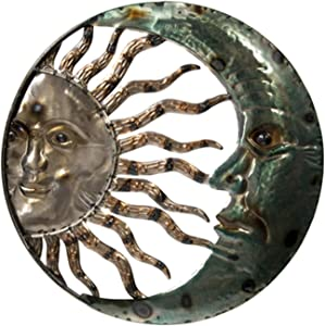 Metal Wall Art Crescent Moon Sun Wall Plaque - Indoor Outdoor Garden Wall Hanging - 20 in Metal Sun Moon Wall Decor