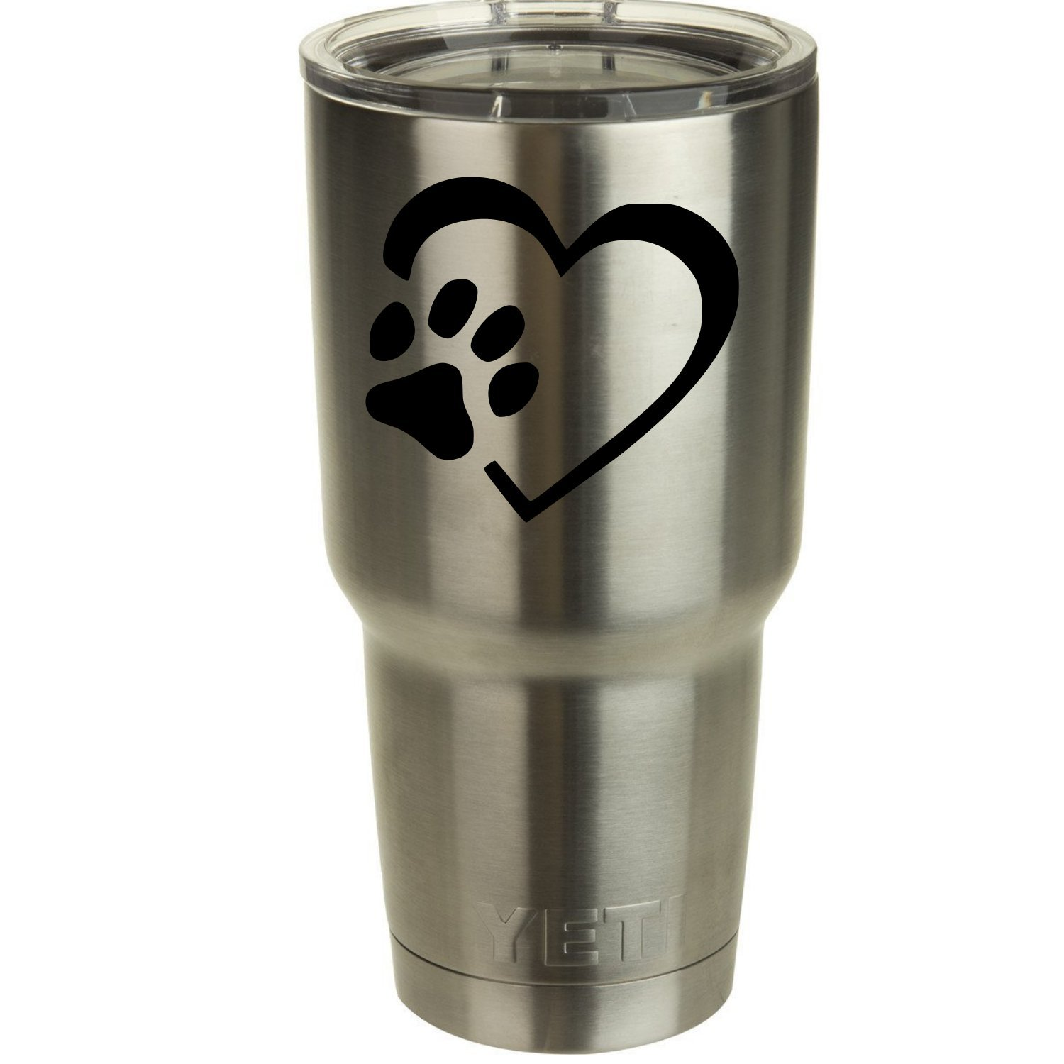 "Heart Paw Love Dogs Decal for Yeti Tumbler Decal Ozark Trail Tumber decal Black or White Decals 4"" H X 3.5"" W"