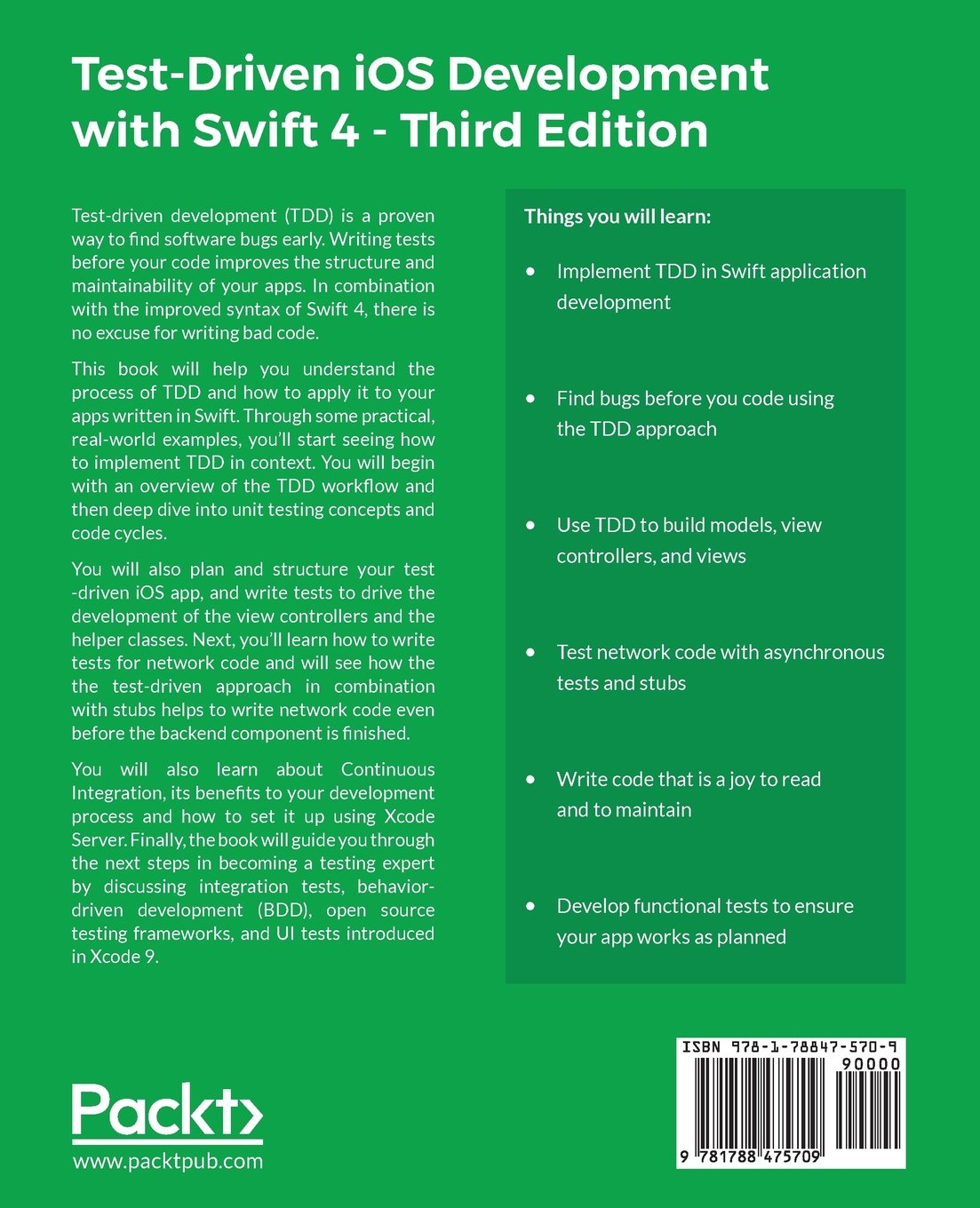 Test driven ios development with swift 4 third edition write test driven ios development with swift 4 third edition write swift code that is maintainable flexible and easily extensible dr dominik hauser fandeluxe Choice Image