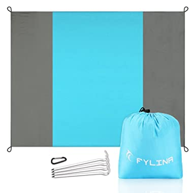 FYLINA Sand Free Beach Blanket Quick Drying Ripstop Nylon Compact Outdoor Picnic Beach Mat Size 7'x9 4 Weightable Pockets + 4 Anchor Stakes