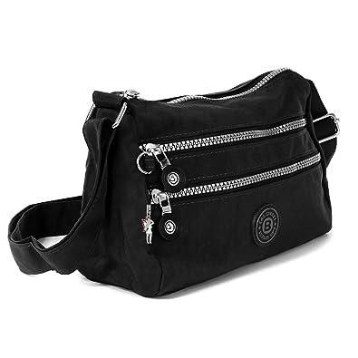 c5f74f90205ec imppac Umhängetasche schwarz Nylon Damen Crossover Schultertasche Bag Street  OTJ229S