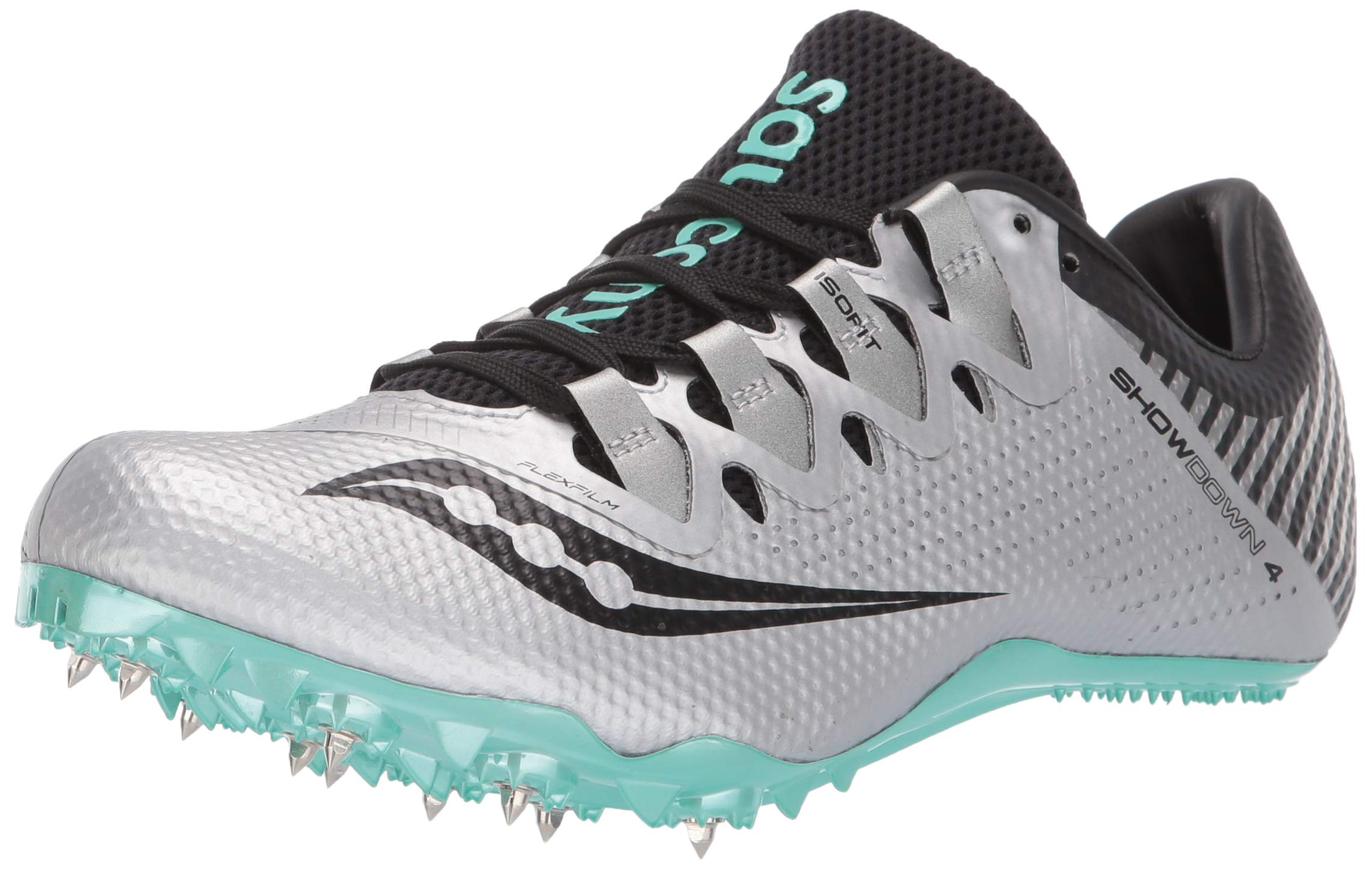 Saucony Women's Showdown 4 Track Shoe Silver/Teal 6 Medium US by Saucony (Image #1)