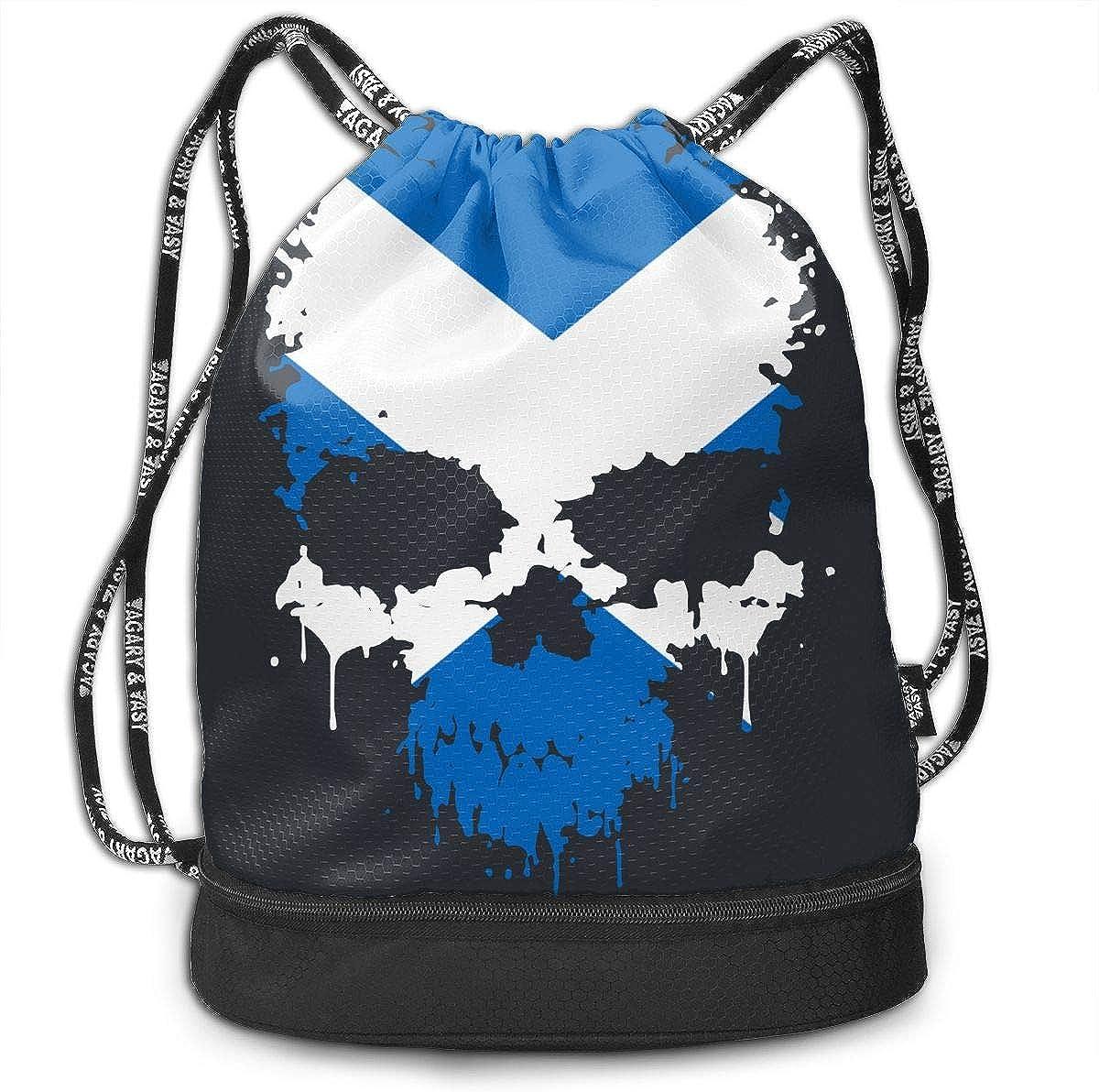 Scotland Flag Splatter Skull Drawstring Bag Multifunctional String Backpack Custom Cinch Backpack Rucksack Gym Bag