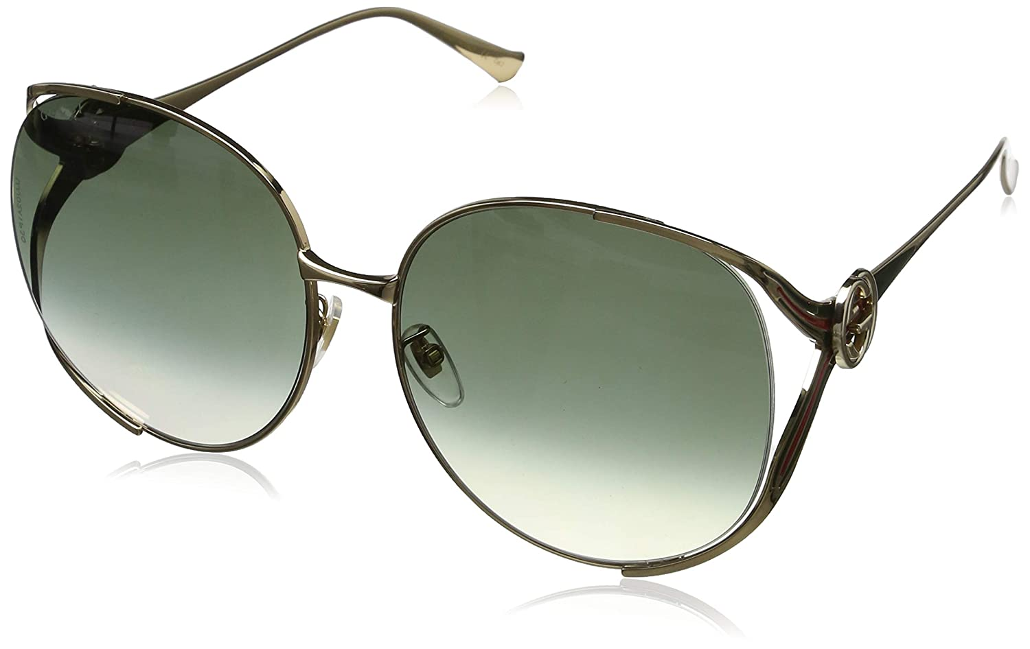 aa7331fa70d Amazon.com  Gucci sunglasses (GG-0225-S 002) Gold - Blue - Brown grey black  Gradient lenses  Clothing