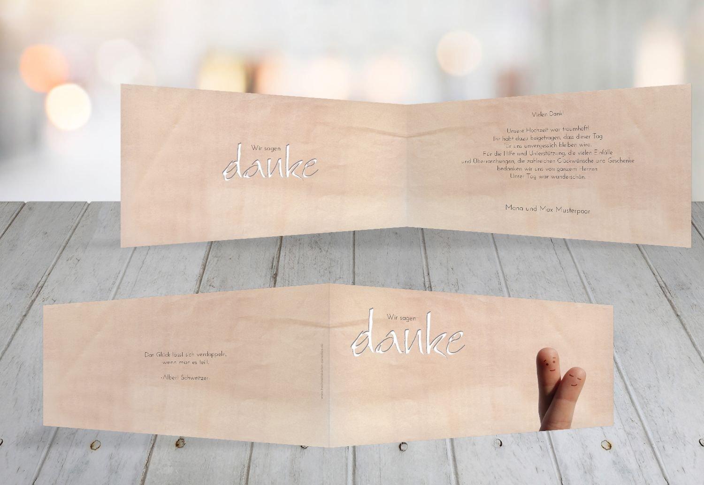 Kartenparadies Danksagung für Hochzeitsgeschenke Hochzeit Dankeskarte Fingerpaar 2, hochwertige Danksagungskarte Hochzeitsglückwünsche inklusive Umschläge   100 Karten - (Format  215x105 mm) Farbe  Hellbraun B01N4QEZH5 | Meistverkaufte