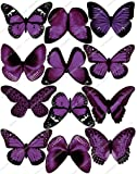 Cakeshop 12 x PRE-CUT Purple Edible Butterfly Cake Toppers