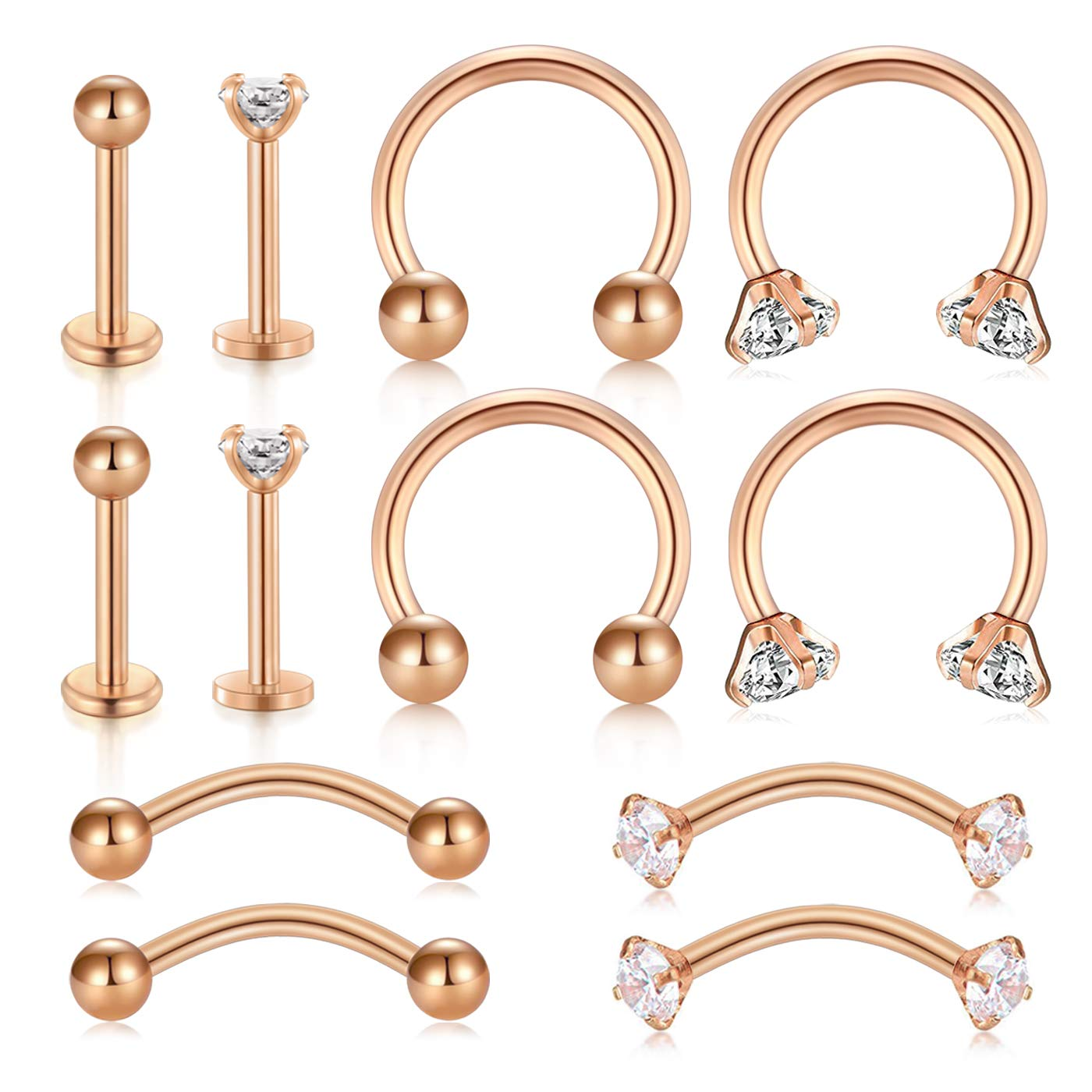 Briana Williams 16G Tragus Cartilage Helix Earrings Retainer Stainless Steel CZ Nose Rings Hoop Curved Barbell Eyebrow Rook Daith Piercing Horseshoe Nose Labret Lip Piercing Studs by Briana Williams