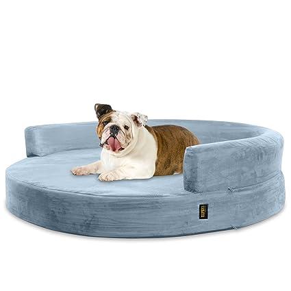 KOPEKS Sofa Redondo Cama Gris para Perro Perros Mascotas Tamaño Grande con Memoria Viscoelástica Colchón Ortopédico