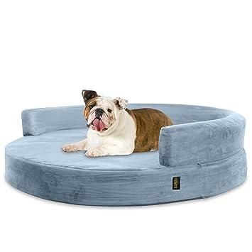 KOPEKS Sofa Redondo Cama Gris para Perro Perros Mascotas Tamaño Grande con Memoria Viscoelástica Colchón Ortopédico 90 cm Diámetro - Round Lounge L Grey: ...