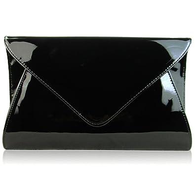 344d8c7d0 Zarla Patent Ladies Flat Clutch Bridal Party Envelope Designer Women  Evening Bags UK Black