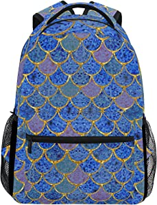 ZOEO Girls Backpack Royal Blue Mermaid Scales Kids School Bookbags Travel Laptop Daypack Bag Purse for Teens Women