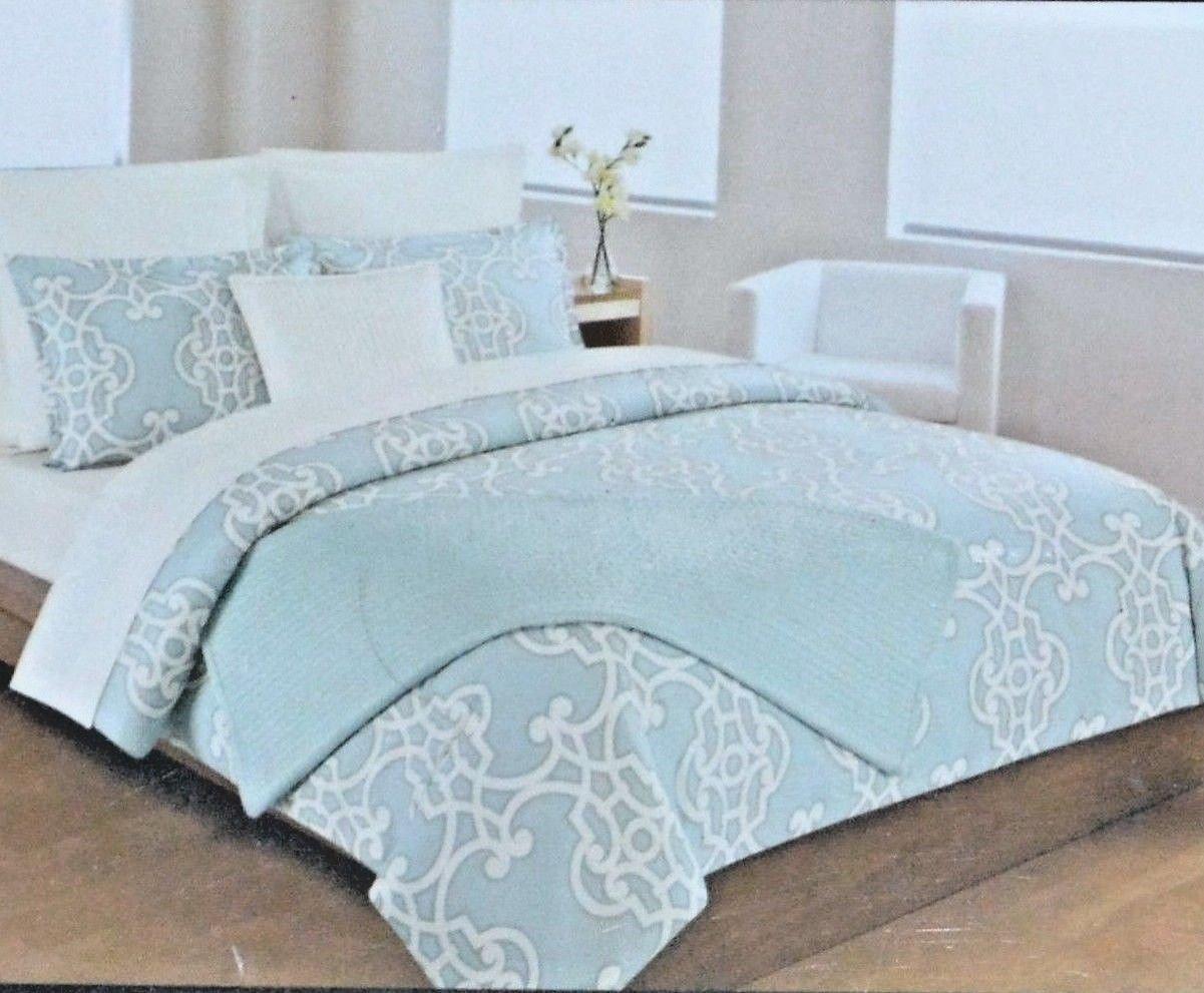Max Studio Blue White Geometric Damask FULL QUEEN Duvet 3pc SET Shams NEW