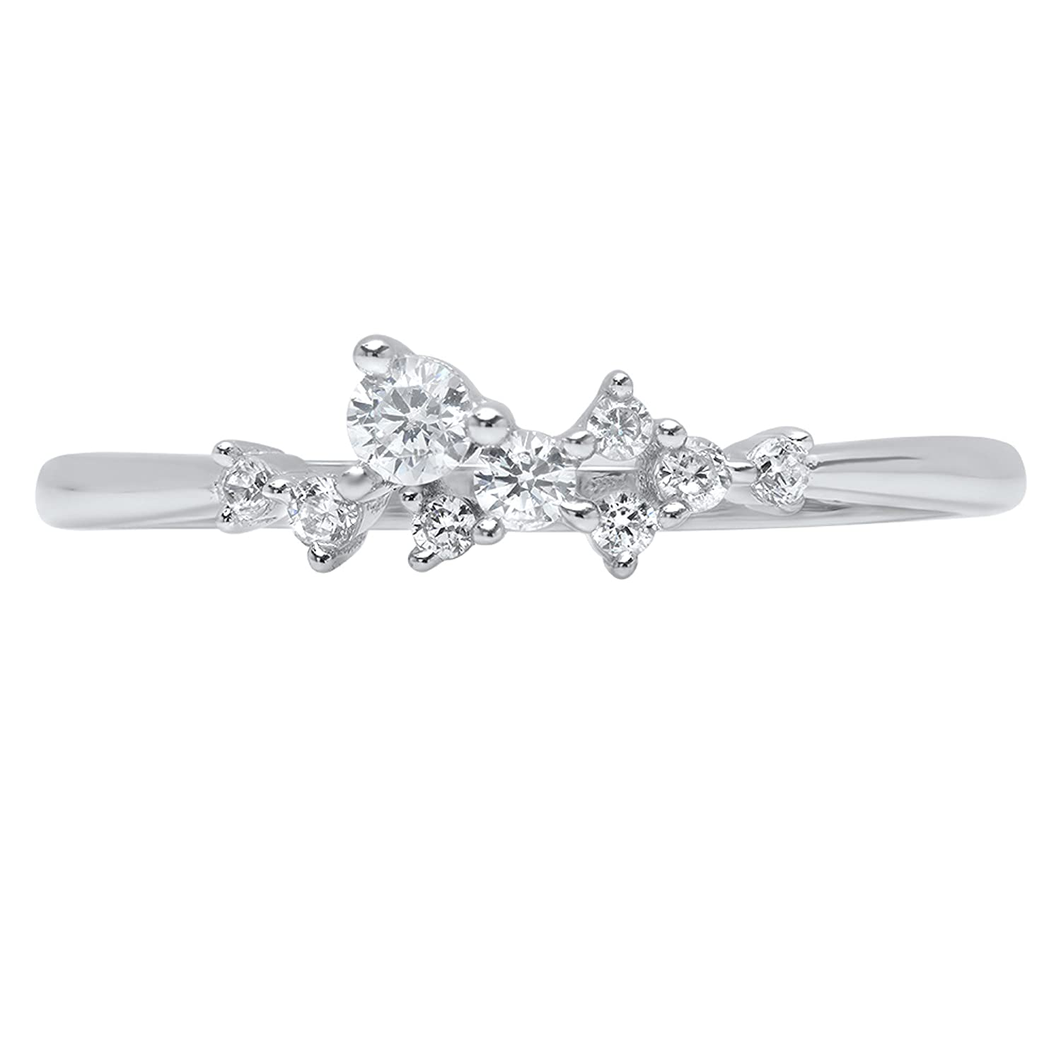 0.38ct Brilliant Round Cut cluster Pyramid Engagement Promise Bridal Anniversary Wedding Eternity Band 14K White Gold