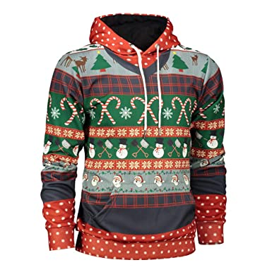 f0715a09fe7 TAGGMY Christmas Clothes for Men Plus Size Black Xmas 3D Print Long Sleeve  Hoodies Sweatshirt 5XL XXXXXL Pullover Tops Blouse at Amazon Men s Clothing  store ...