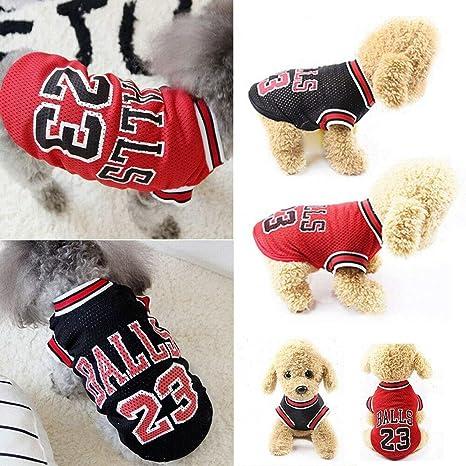 ForUUU Ropa Perros Pequeños, Camisas Perros Ropa Perros Verano Deporte Ropa de Perrito Traje Mascotas Perros Camiseta de Moda, Negro, Rojo (L, Negro)