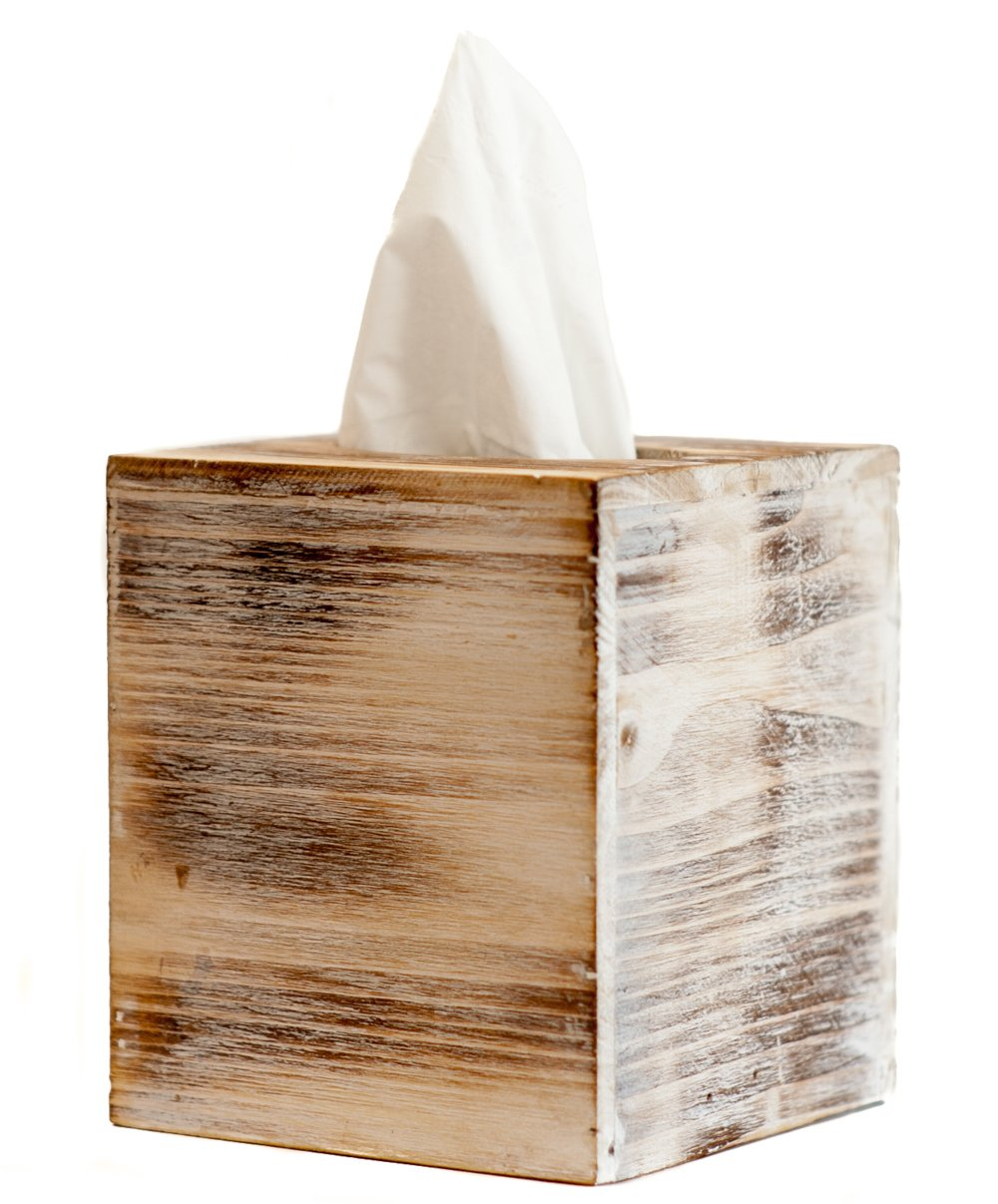Tissue Box Holder | Rustic Cube Facial Tissue Box Cover Wood with Slide-Out Bottom Panel
