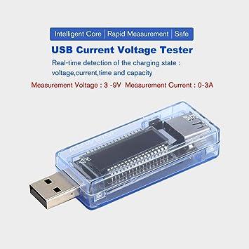 Jasnyfall Medidor de potencia móvil del detector de probador de voltaje actual en amperios de carga usb 3 en 1 azul: Amazon.es: Bricolaje y herramientas
