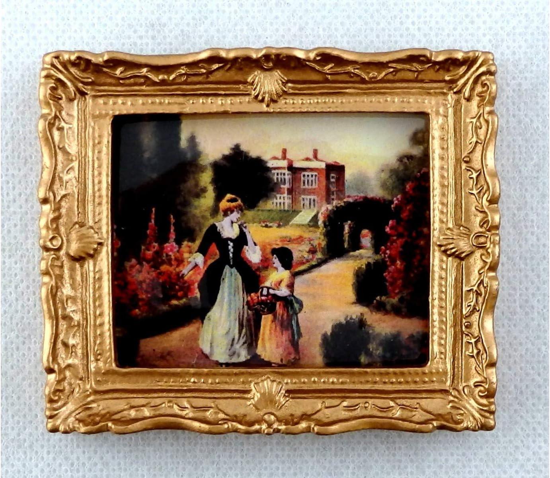 Melody Jane Accesorio Miniatura Casa de Mu/ñecas Tudor Jard/ín Stroll Cuadro Marco Dorado