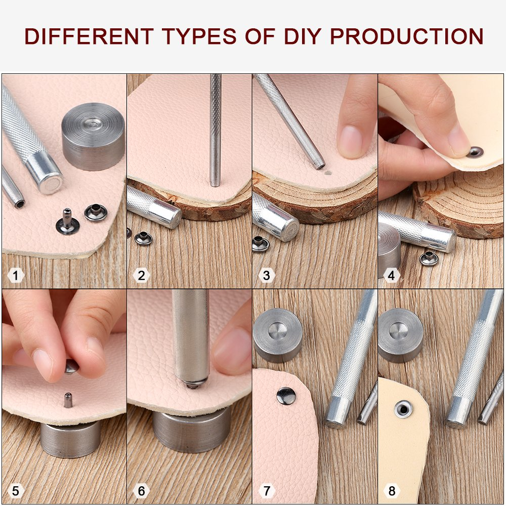 Leather Rivets, BYSOU 180 Set 3 Sizes Single Cap Rivet Tubular Metal Studs for DIY Leather Craft Rivets Replacement