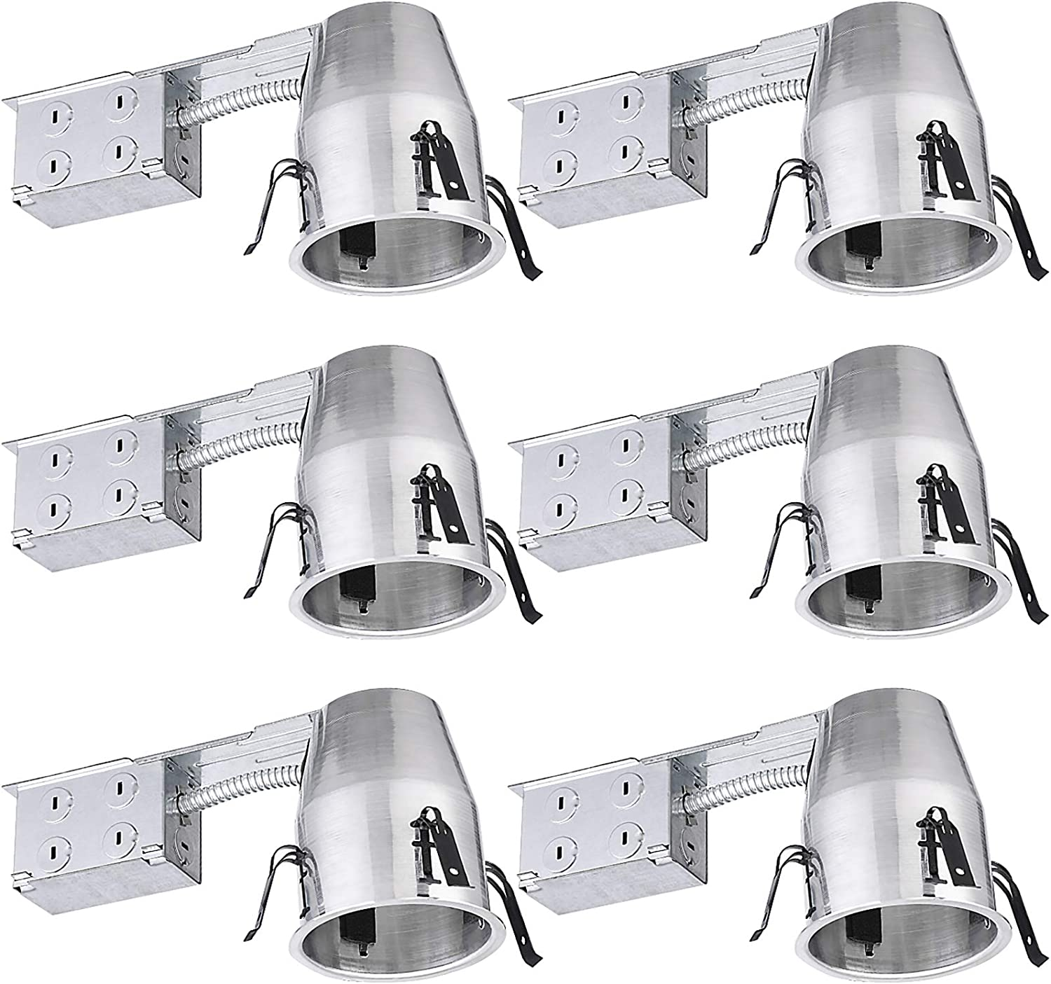 Torchstar 4 Inch Remodel Recessed Housing Air Tight Ic Remodel Aluminum Can E26 Socket Included For Led Recessed Lighting Ul Listed Pack Of 6 Amazon Com