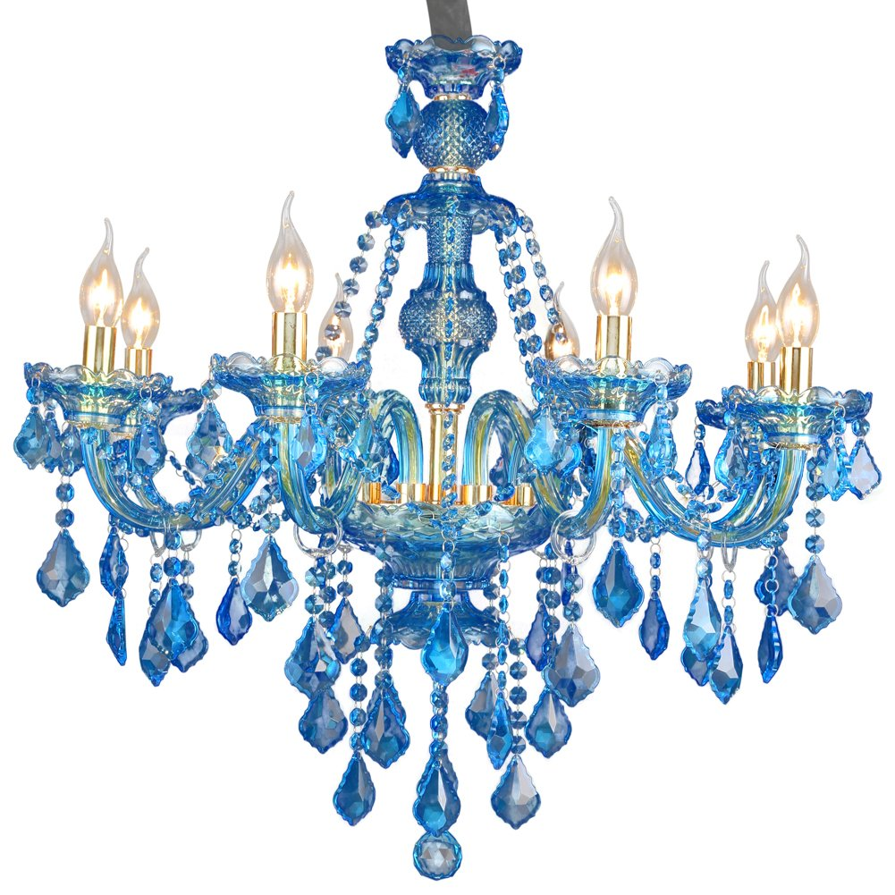 Luxury Chandelier Modern Contemporary Crystal Hanging Lamps Blue ...