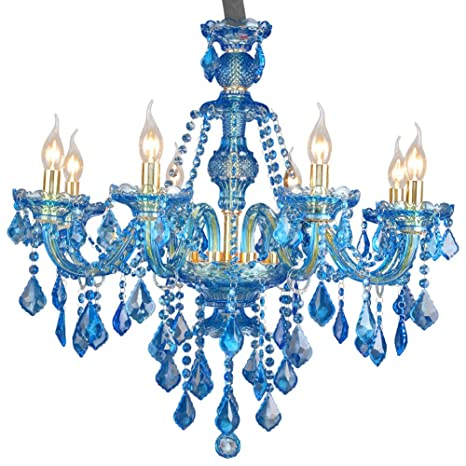 Araña De Cristal Color Azul Lámpara De Techo De Vidrio ...