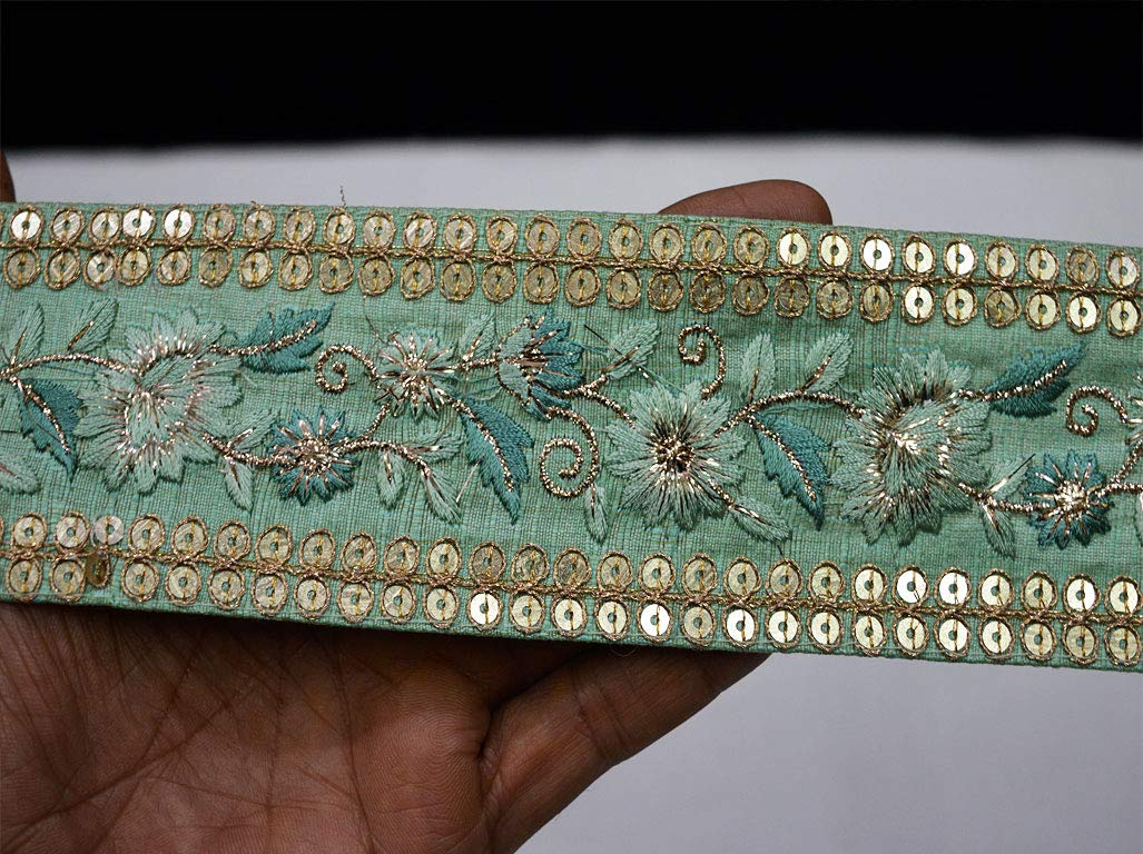 2.5 inch Wholesale Pale Teal Saree Border Fabric Trim by 9 Yard Embroidered Trimmings Ribbon Indian Sari Border Gold Indian Trim Crafting Costumes Sewing Trims Harshita Crafts Pvt. Ltd.