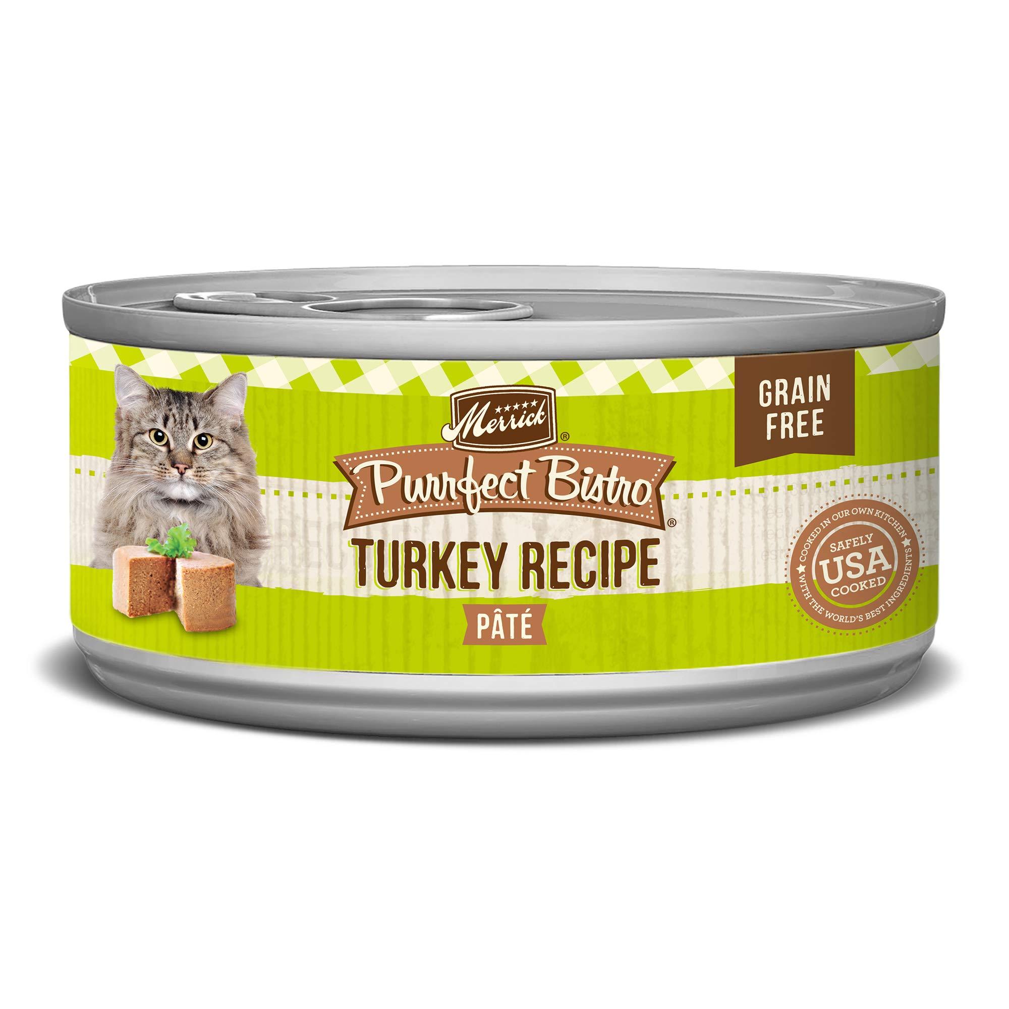 Merrick Purrfect Bistro Grain Free Turkey Pate Wet Cat Food, Case of 24, 5.5 oz by Merrick