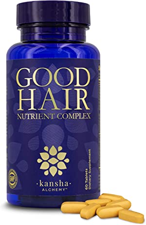 Good Hair Growth Vitamins for Women and Men, Biotin Vitamins for Hair Skin and Nails with DHT Blocker, Vitamin A, C, and E and Saw Palmetto, 60 Tablets - Kansha Alchemy