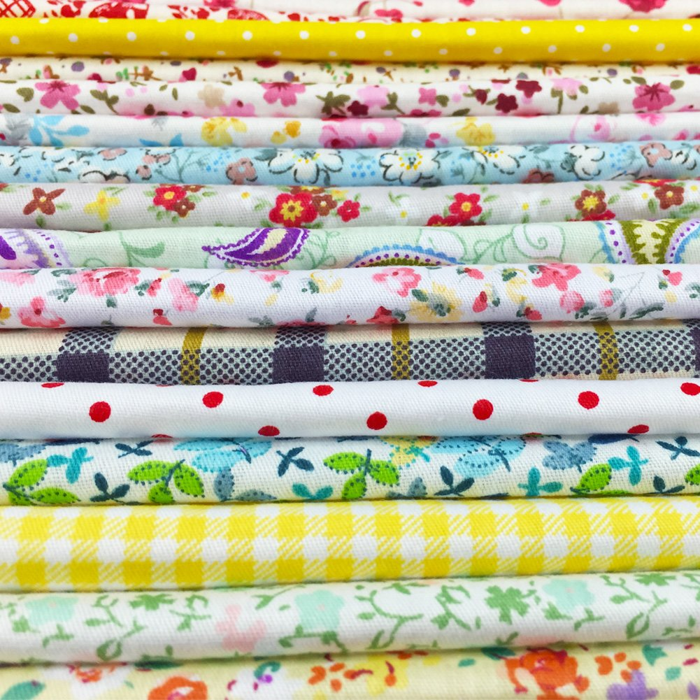 flic-flac 200pcs 4 x 4 inches (10cmx10cm) Cotton Craft Fabric Bundle Squares Patchwork Lint DIY Sewing Scrapbooking Quilting Dot Pattern Artcraft by flic-flac (Image #4)