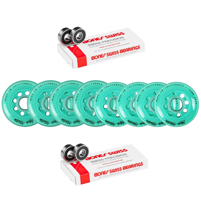 Labeda Wheels 80mm /76mm Hilo Set Addiction Teal Inline Hockey Bones Swiss