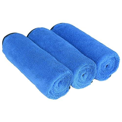 Sinland serviettes microfibre de nettoyage polissage de voiture séchage rapide ultra doux chiffon en voiture épilation à la cire 40x60cm lot de 3 Bleu