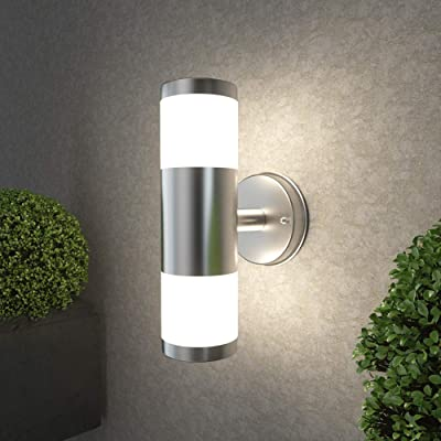 NBHANYUAN Lighting LED Outdoor Wall Light Fixtures Exterior Wall Sconce Silver Stainless Steel Weatherproof 3000K Warm Light Front Door Porch Light 9W 110V 1000LM [Energy Class A+]