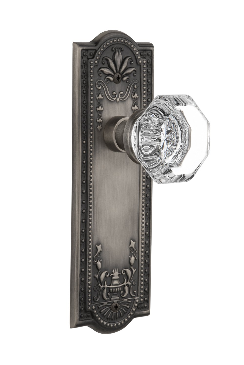 2.375 Nostalgic Warehouse Meadows Plate with Waldorf Crystal Knob Antique Pewter Privacy