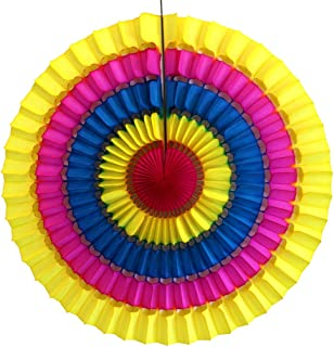 product image for Devra Party 3-Pack 16 Inch Striped Honeycomb Tissue Paper Fan (Multi Rainbow)