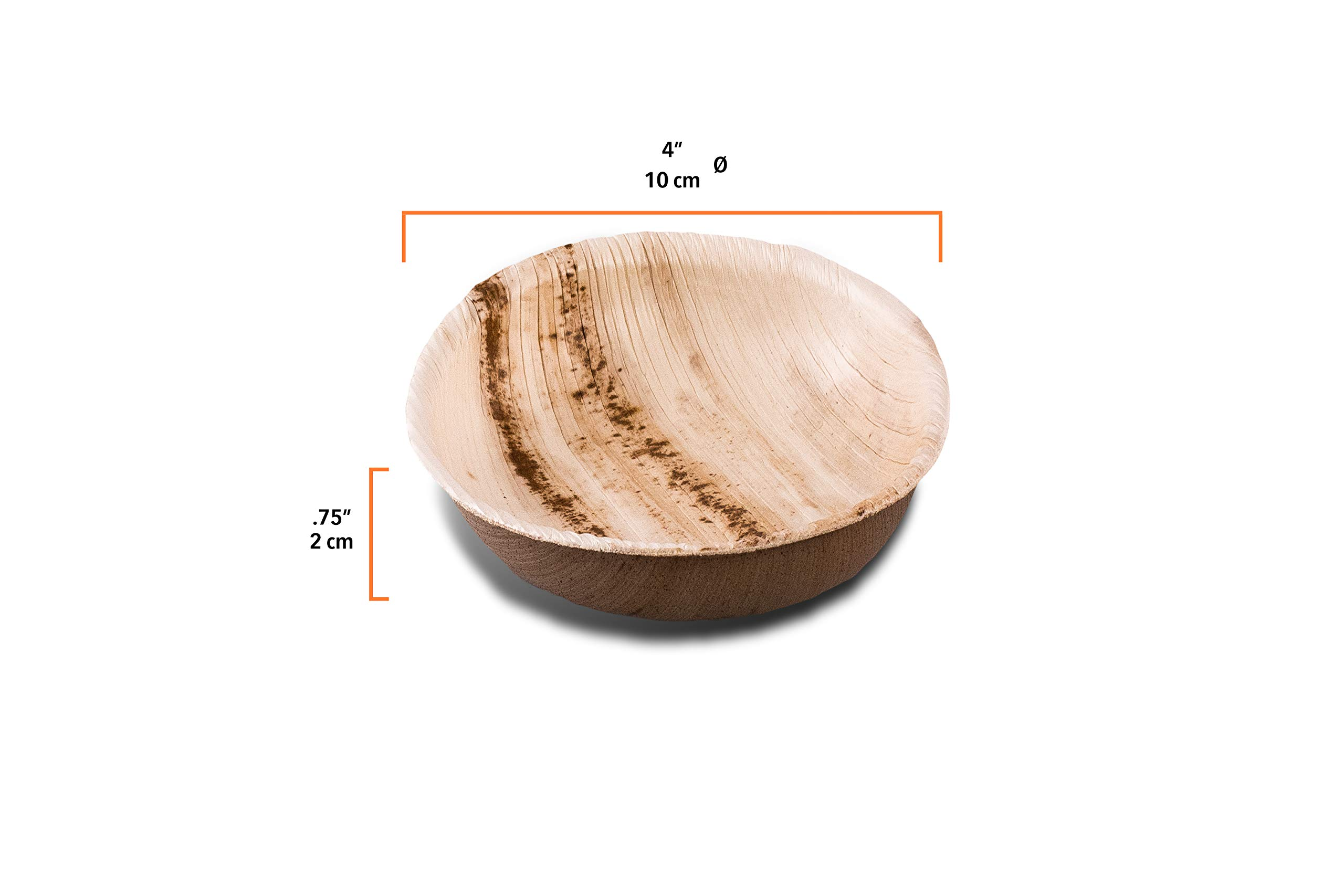 """Naturally Chic 4"""" Round Shallow Mini Disposable Palm Leaf Dish - 25 Pack - Tiny Snack and Dip Bowl - Eco-Friendly, Biodegradable & Compostable - Ideal for Weddings, Parties, Home Use"""