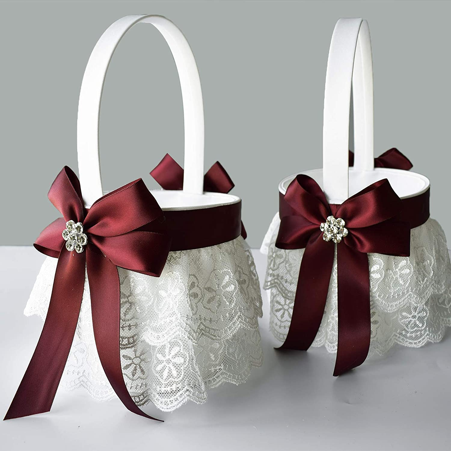 ATAILOVE Flower Girl Baskets for Wedding - Double Lace Accented Royal Design (Dark Red)