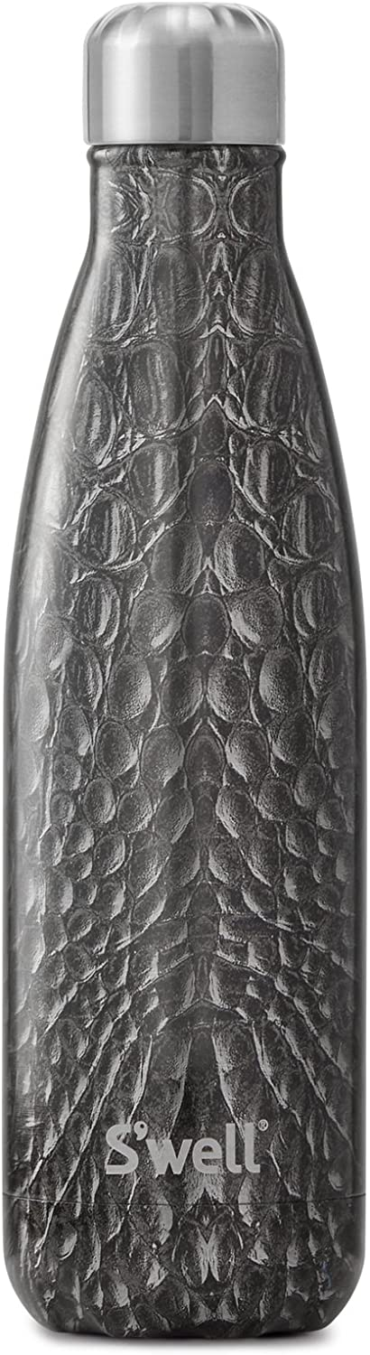 S'well Vacuum Insulated Double Wall Stainless Steel Bottle, 17oz, Black Crocodile