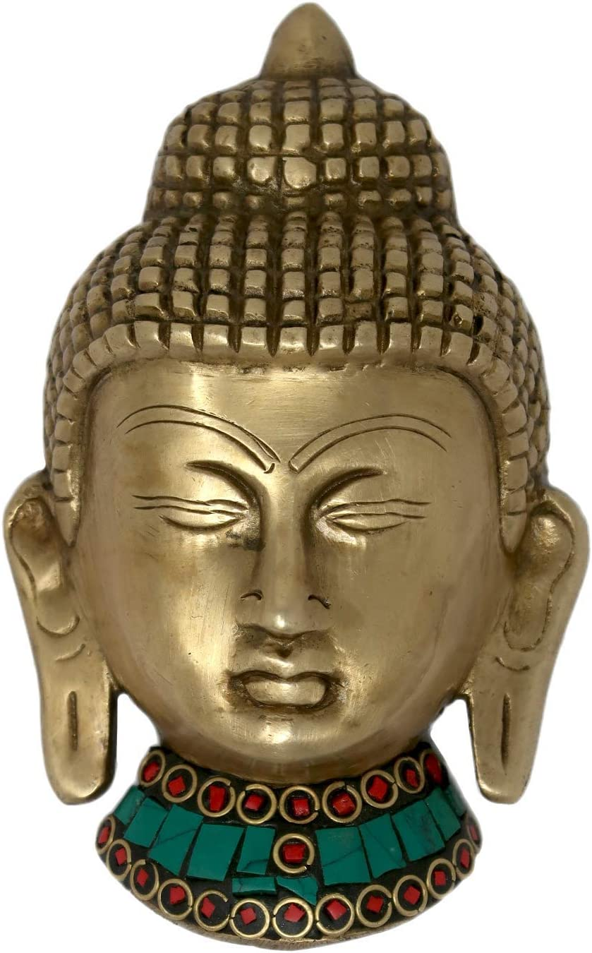 Colorful Buddha Wall Hanging Brass Metal Sculpture Art for Home Decorations
