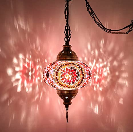 8 Colors Demmex Turkish Moroccan Mosaic Swag Plug In Pendant Ceiling Hanging Light With 15feet Cord Decorated Chain North American Plug Pink 6