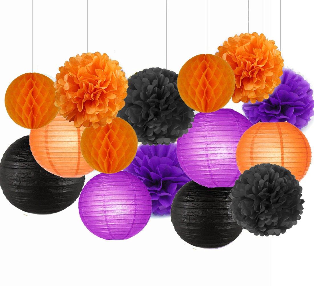 Sogorge Happy Halloween Party Decorations Kit Paper Lanterns Tissue Paper Pom Poms Black Orange Purple Theme Halloween Series Halloween Decoration Paper Flower