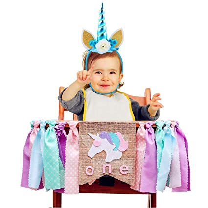 Amazon Com Unicorn Horn Headband And Burlap Highchair Banner For