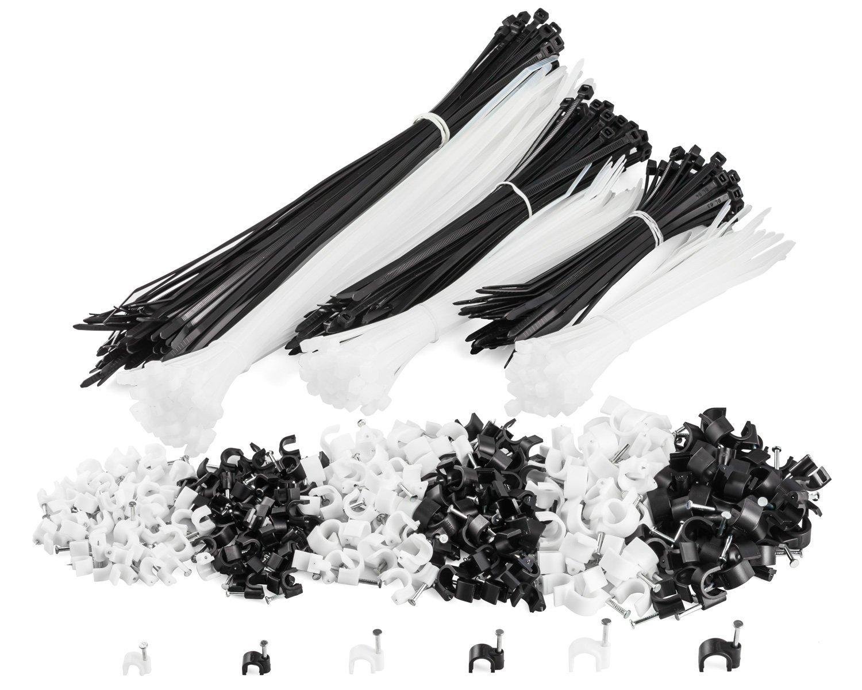 MutecPower Set di 600 fascette stringicavo e fermacavi a clip - 300 Chiodini fermacavo 6mm 8mm 10mm e 300 fascette stringicavo 15cm 20cm 30cm In bianco e nero - Set per organizzare i cavi di casa, ufficio e laboratorio