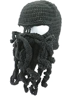 1cd4a77d640 Oidon Octopus Winter Warm Knitted Wool Ski Face Mask Knit Beard Squid  Beanie Hat Cap