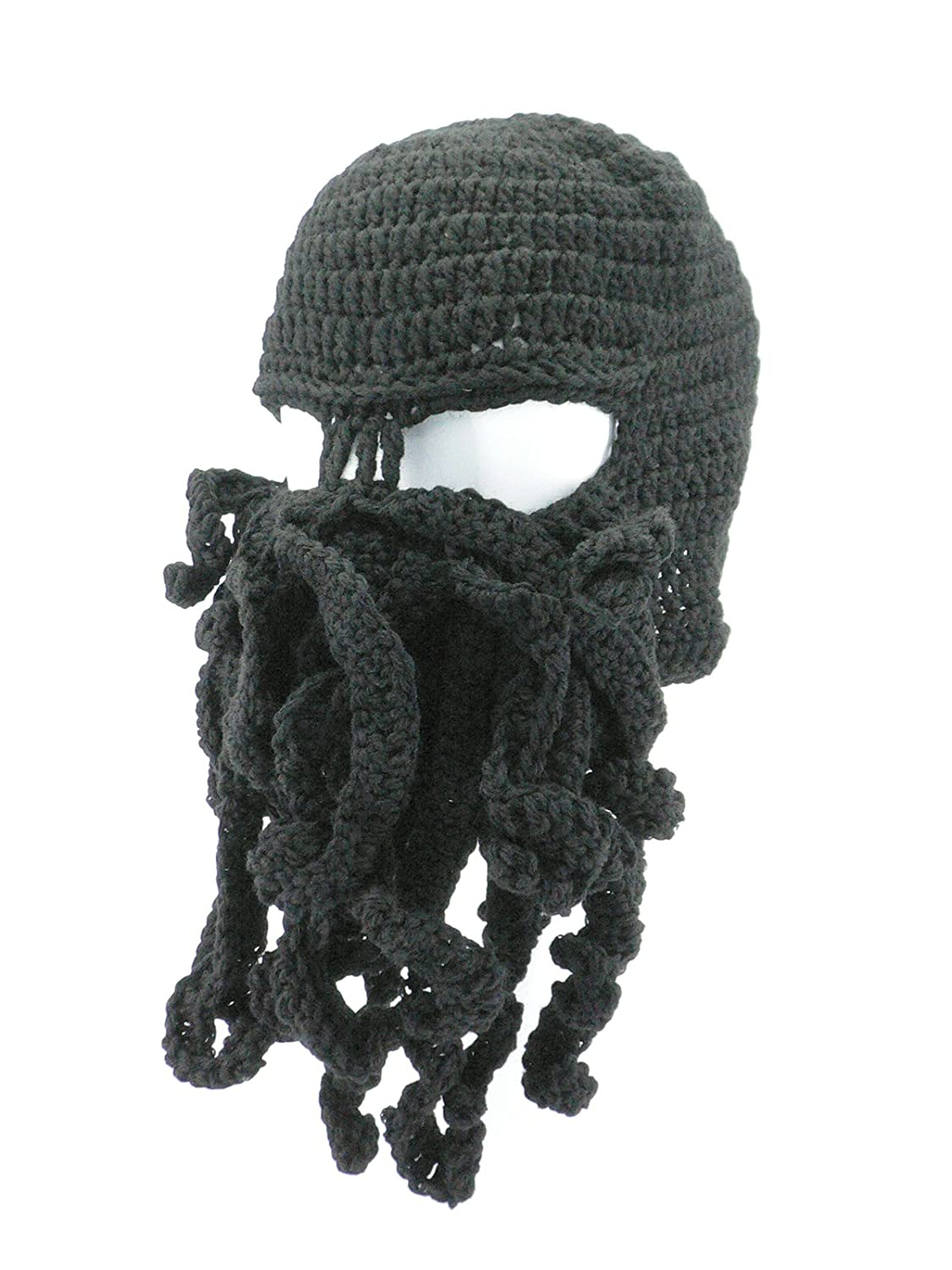 95ed173fd9f Amazon.com  Oidon Octopus Winter Warm Knitted Wool Ski Face Mask Knit Beard  Squid Beanie Hat Cap (Black)