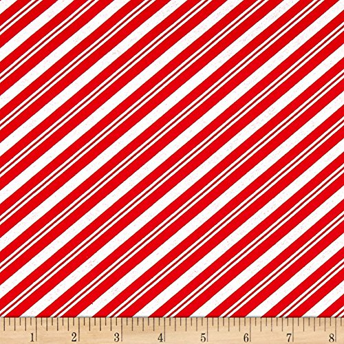 StudioE Fabrics Lucie Crovatto Polar Bear Piroutte Candy Cane Stripe Fabric by the Yard, Red (Bears Candy Cane)