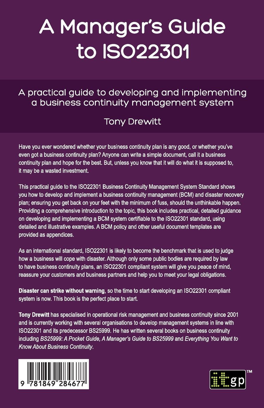 Manager S Guide To Iso22301 A Practical Guide To Developing And